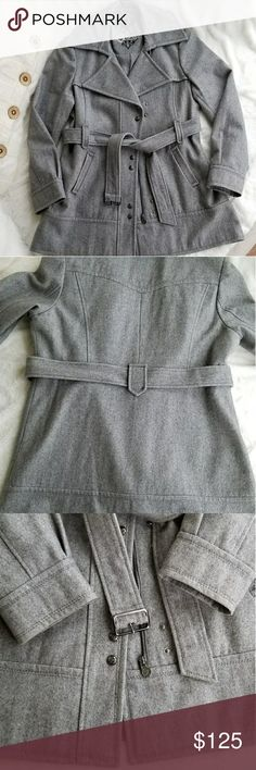 GUESS Heather Gray Wool-Blend Coat, Size XL Heather Gray Wool-Blend Coat by Guess. Zipper&Snap Closure. Belted.  Two side pockets. Fully lined. Size XL. Like New in Excellent Condition. Guess Jackets & Coats Trench Coats