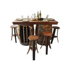 Wine Barrel Bar Island Dining Table Set 4-Stools 28-Bottle Wine Rack Lazy Susan #NapaEastCollection #WineBarrals