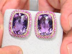 25.00 ctw Amethyst Checkerboard Cushion & 1.56 ctw Pink Sapphire Round 18K Rose Gold Earrings & .30ctw Diamonds.