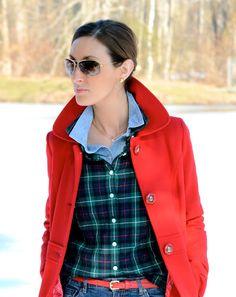 Vestes Rouges, Manteaux Rouges, Style Preppy, Style Blogueur, Chemise Jean,  Style 7ad8fb65c97