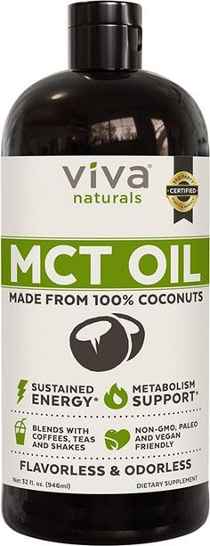 Viva Naturals Non-GMO Pure Coconut MCT Oil fl oz) - Gluten Free, Vegan for sale online Hcg Diet, Paleo Diet, Ketogenic Diet, Paleo Coffee, Metabolism Support, Keto Supplements, Mct Oil, Blended Coffee, Health Articles