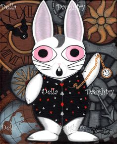 """""""Oh Noes! I'm Late!"""" A 8x 10 acrylic on stretched canvas. By Della Daughtry #bigeyeart"""