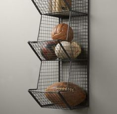 RH Baby & Child's Industrial Wire 3 Cubby Storage - Zinc:Wire bins lend a warehouse aesthetic to the bedroom or playroom while helping contain clutter and keeping things organized. Ball Storage, Wire Storage, Cubby Storage, Storage Ideas, Storage Solutions, Smart Storage, Kitchen Storage, Onion Storage, Produce Storage