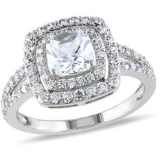 3 Carat T.G.W. Cushion- and Round-Cut CZ Sterling Silver Double-Halo Engagement Ring