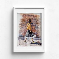 Cool Kid – Claire Gunn - Watercolour Painting Woman in dress, yellow jacket and sneakers walking on pavement next to face brick wall. Pavement, Brick Wall, Watercolour Painting, Will Smith, Cool Kids, Claire, Original Artwork, Fine Art Prints, Walking