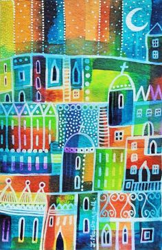 ARTFINDER: Two Churches by Janice MacDougall - This is an original acrylic ink painting which has been painted on watercolour paper. It features an abstract townscape inspired by holidays to Greece.