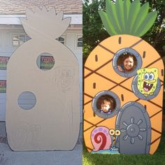 Spongebob Face in Hole Party Prop right after we cut out the shape and drew some designs and the finished product.