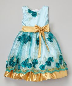 Loving this Turquoise & Gold Floral Dress - Infant, Toddler & Girls on #zulily! #zulilyfinds