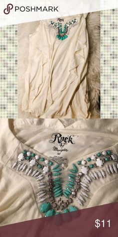 ⭐️SALE⭐️Rock 47 Beige Beaded Top Rock 47 by Wrangler beaded top. Perfect condition. Wrangler Tops Blouses