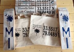 Custom Longitude and Latitude for Murrells Inlet, SC available at Lazy gator Gifts Myrtle Beach Shopping, Murrells Inlet, Paper Shopping Bag, Lazy, Usa, How To Make, Gifts, Favors, Presents