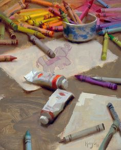 """""""Crayons"""" by Artist Daniel J keys. Painting Still Life, Still Life Art, Paintings I Love, Beautiful Paintings, Oil Paintings, Landscape Paintings, Daniel J, Daniel Keys, Let's Make Art"""