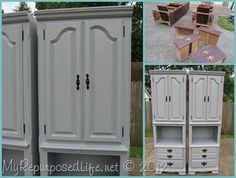 Old musty bookshelves salvaged by using some DIY Chalk Paint in a pretty blue gray oops paint.