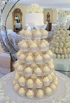 White Wedding Cupcakes-Filigree Cupcake Cases-Woodborough Hall Nottingham | Flickr - Photo Sharing!