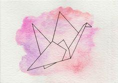 Origami  • Idée de dessin/aquarelle d'un origami d'oiseau sur un fond de couleurs différentes d'aquarelle