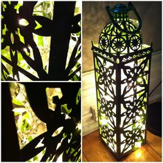 #DIY #lantern #lights My favourite green lantern with some white xmas lights inside. SUPER EASY!!   Looooove this
