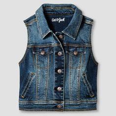 Girls' Jean Vest Cat & Jack™ - Dark Vintage Wash M : Target