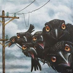 Crow Art, Raven Art, Crows Ravens, Rabe, Weird Creatures, Pop Surrealism, Beautiful Paintings, Art Pictures, Animal Pictures