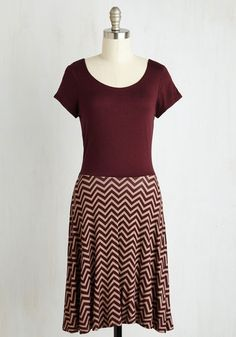 Cheers to Casual Dress in Burgundy Chevron. Lift your iced tea glass and say a toast to this flirtatious twofer dress! #red #modcloth