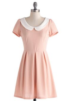 Record Time Dress in Petal Pink - Pastel, Short, Pink, White, Exposed zipper, Peter Pan Collar, Pleats, Casual, A-line, Short Sleeves, Collared, Spring