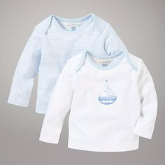Buy John Lewis Baby Layette Long Sleeve Tops, Pack of 2, White/Blue Online at johnlewis.com