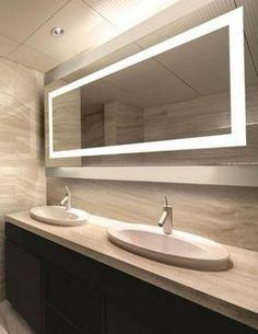 Luxury And Modern Bathroom Mirror Ideas. If you are looking for And Modern Bathroom Mirror Ideas, You come to the right place. Modern Bathroom Mirrors, Best Bathroom Lighting, Bathroom Mirror Lights, Bathroom Light Fixtures, Modern Bathroom Design, Beautiful Bathrooms, Small Bathroom, Master Bathroom, Bathroom Interior
