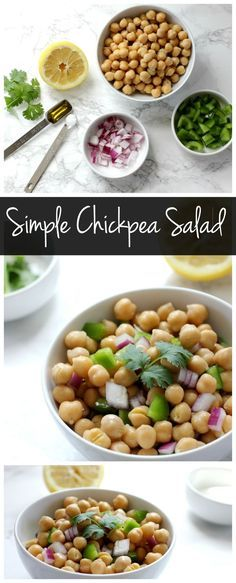 This simple chickpea salad is an easy vegan and gluten free side dish! Its a low calorie recipe that is full of protein and fiber!