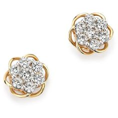 Diamond Flower Stud Earrings in 14K Yellow and White Gold, .50 ct. (273030 ALL) ❤ liked on Polyvore featuring jewelry, earrings, gold stud earrings, yellow gold earrings, 14k earrings, 14k diamond earrings and 14k gold jewelry