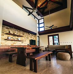 Modern living room at Casa Tres Hermanos, located in Rancho Santana, Nicaragua.