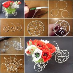 How to DIY Decorative Wire Cart Planter for Flower Bouquet This is really pretty decorative planter for flower bouquet or in house plants. The tutoria. Pot Mason Diy, Mason Jar Crafts, Wire Crafts, Diy And Crafts, Paper Crafts, Paper Toys, Decorative Planters, Wire Art, Paper Flowers