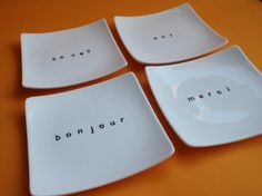 Hand Painted Plates with French Conversation