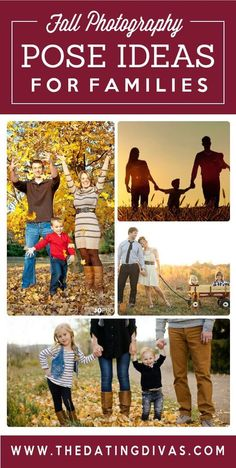 Family poses for Fall photography- so many great photo ideas for gorgeous autumn inspired family pictures.