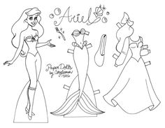 Color your own Disney princess paper dolls with these three designs by Cory Jensen. Disney Paper Dolls, Barbie Paper Dolls, Paper Dolls Book, Vintage Paper Dolls, Paper Toys, Fabric Dolls, Paper Crafts, Rag Dolls, Frozen Paper Dolls