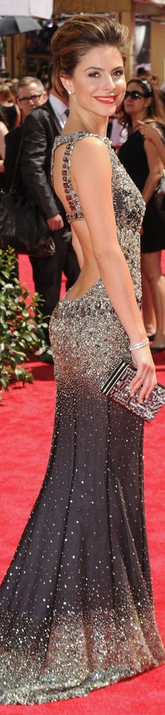 beautiful backless sequin gown.