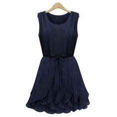 Sleeveless Scoop Neck Strappy Beam Waist Plicated Flounces Stylish Women's Dress