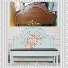 Painted in Fusion Heirloom with Rose Celebration IOD transfer Shabby Chic Furniture, Painted Furniture, Refinished Furniture, Image Painting, Chalk Painting, Home Projects, Home Crafts, Painted Benches, Headboards