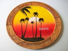 Hawaii Wood Plate, Hand Carved Painted Decorative Plate, Vintage Wooden Collectible Souvenir Plate, Palm Trees & Sunset