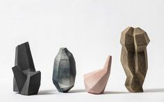 Beautiful collection of vases by danish artist Turi Heisselberg Pedersen. They are inspired by geological structures and crystal formations, but also by architecture, the edged rendering of a computer drawing or folded paper shapes. #graphic #vase #object #design #interiordesign #minimalism #shapes #beautiful #inspiration #iwantit