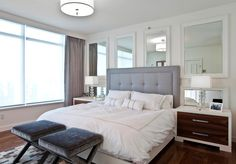 Good-looking Tufted Sleigh Headboard with Gray Upholstered
