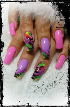 Nail art by Pet Nails Colorful Nail Designs, Beautiful Nail Designs, Cute Nail Designs, Beautiful Nail Art, Acrylic Nail Designs, Acrylic Nails, Colorful Nails, Fabulous Nails, Gorgeous Nails