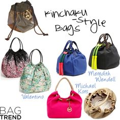 """Kinchaku bags"" by selven ❤ liked on Polyvore"