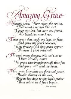 Amazing Grace artists, song, bibl, lyric, christian quotes amazing grace, calligraphy, gods grace, amaz grace, praise quotes
