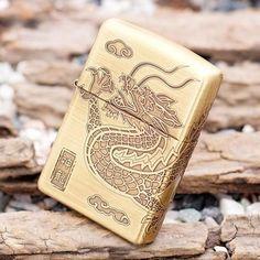 Japanese Brass 4 Sides Engraved Dragon Zippo Lighter