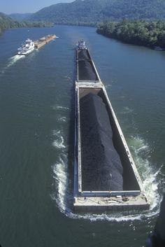 Coal barges on Kanawha River in Charleston, #WestVirginia
