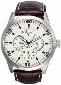 GUESS Men's W95046G1 Steel Brown Leather Beige Multifunction Dial Watch GUESS. $116.40. Water-resistant to 99 feet (30 M). Stainless steel case. Brown leather strap; Crocodile print. Japanese-Quartz movement; Scratch-resistant mineral crystal. Large, beige, multifunction dial; Day, date, month, and 24-hour subdials; Luminescent hands. Save 39%!