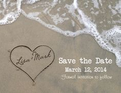Save the Date printable postcard. Printable card that looks like the couples name is writen in the sand.