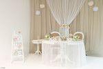 Brautpaar Tisch in taupe / weiß