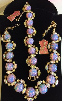 Dazzling Vintage Schiaparelli Necklace & Bracelet Set~Fire Opal Art Glass/Rhinestones/Gold tone~Signed