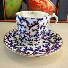 Rare Worcester Porcelain Binns & Kerr Cup & Saucer Teacup Aesthetic Movement Duo