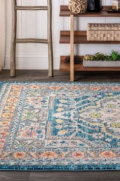 "Old world style gets new life in a stunning aqua blue color in this bohemian rug inspired by the oriental masterpieces of antiquity. A large center medallion and thin border create an optical illusion that will make your space feel larger, all while creating a stunning accent for eclectic or modern decor. With only a 1/3"" pile, it is durable enough for high traffic areas like a living room or foyer, but soft enough for bedrooms as well.  #JonathanY #AreaRugs #BestRugs #HomeDecor Aqua Blue Color, Blue Yellow, Thing 1, Old World Style, Cool Rugs, Outdoor Area Rugs, Online Home Decor Stores, Colorful Rugs, Bohemian Rug"