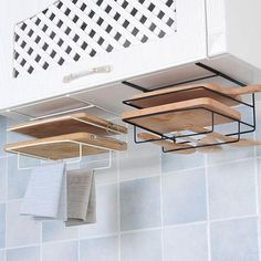 """Save space and get your kitchen organized with ourMultipurpose Cutting Board Storage Shelf Rack. Ideal for storing chopping boards, hanging towels, cooking utensils are more. Strongweight load capacity.  Made fromdurable metal. Measures approximately 9.5"""" x 4"""" x 10"""" Free Worldwide Shipping & 100% Money-Back Guarantee Kitchen Organizer Rack, Diy Kitchen Storage, Diy Storage, Kitchen Organization, Kitchen Decor, Kitchen Wrap, Organization Ideas, Storage Ideas, Organizing Small Kitchens"""